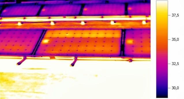Diodi di bypass malfunzionanti su termogramma IR